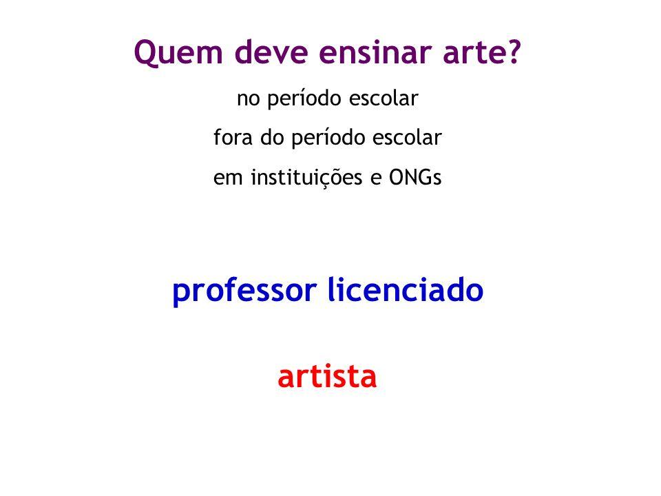 Quem deve ensinar arte? no período escolar fora do período escolar em instituições e ONGs professor licenciado artista