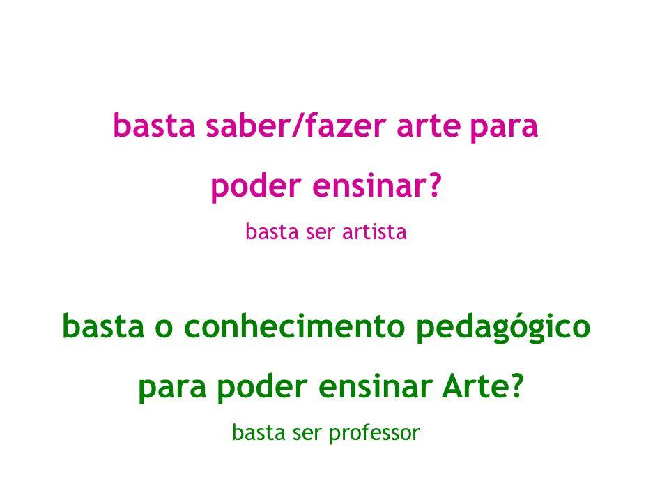 basta saber/fazer arte para poder ensinar? basta ser artista basta o conhecimento pedagógico para poder ensinar Arte? basta ser professor