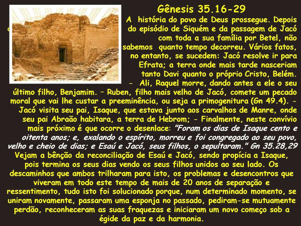 Gênesis 35.16-29 A história do povo de Deus prossegue. Depois dodo episódio de Siquém e da passagem de Jacó e com toda a sua família por Betel, não sa