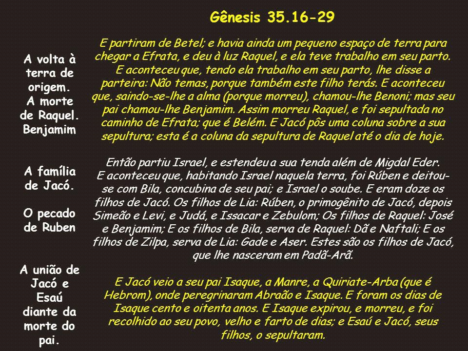 Gênesis 35.16-29 E partiram de Betel; e havia ainda um pequeno espaço de terra para chegar a Efrata, e deu à luz Raquel, e ela teve trabalho em seu pa