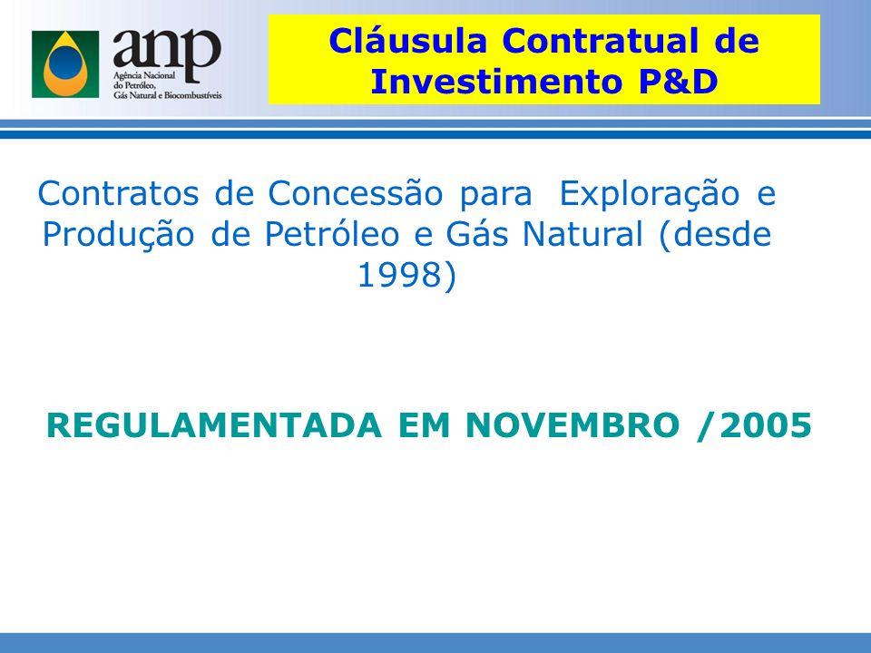 Cláusula Contratual de Investimento P&D REGULAMENTADA EM NOVEMBRO /2005 Contratos de Concessão para Exploração e Produção de Petróleo e Gás Natural (d