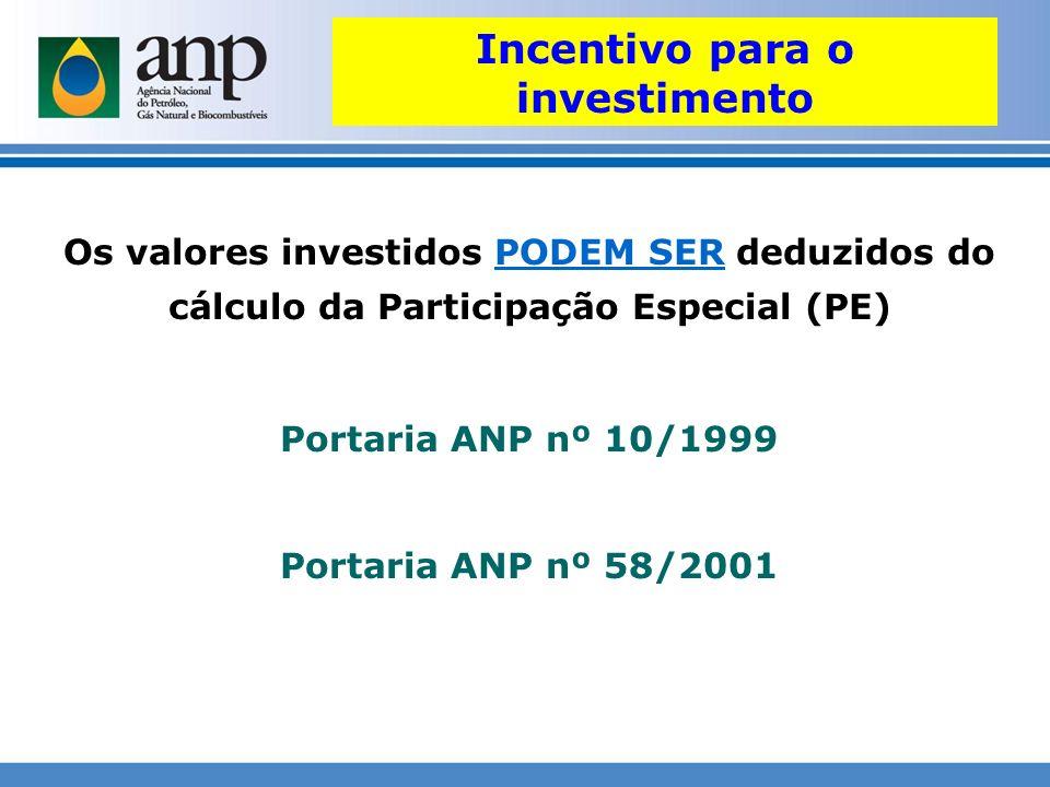 Os valores investidos PODEM SER deduzidos do cálculo da Participação Especial (PE) Portaria ANP nº 10/1999 Portaria ANP nº 58/2001 Incentivo para o in