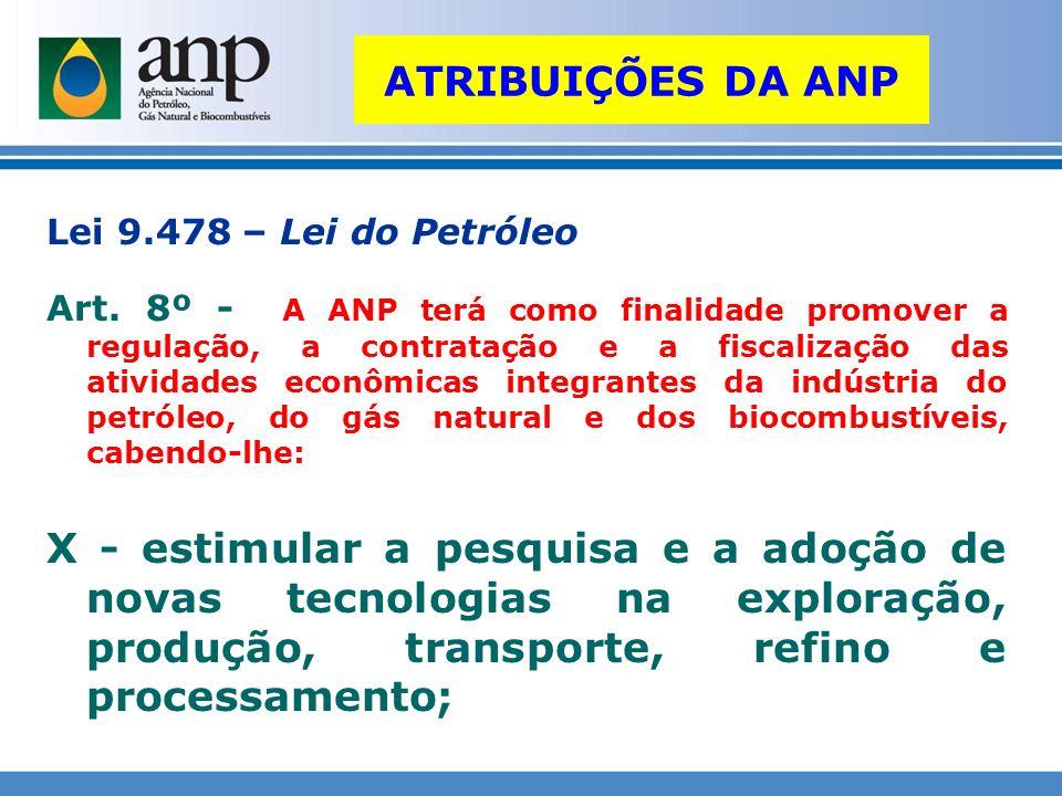 ATRIBUIÇÕES DA ANP Lei 9.478 – Lei do Petróleo Art. 8º - A ANP terá como finalidade promover a regulação, a contratação e a fiscalização das atividade