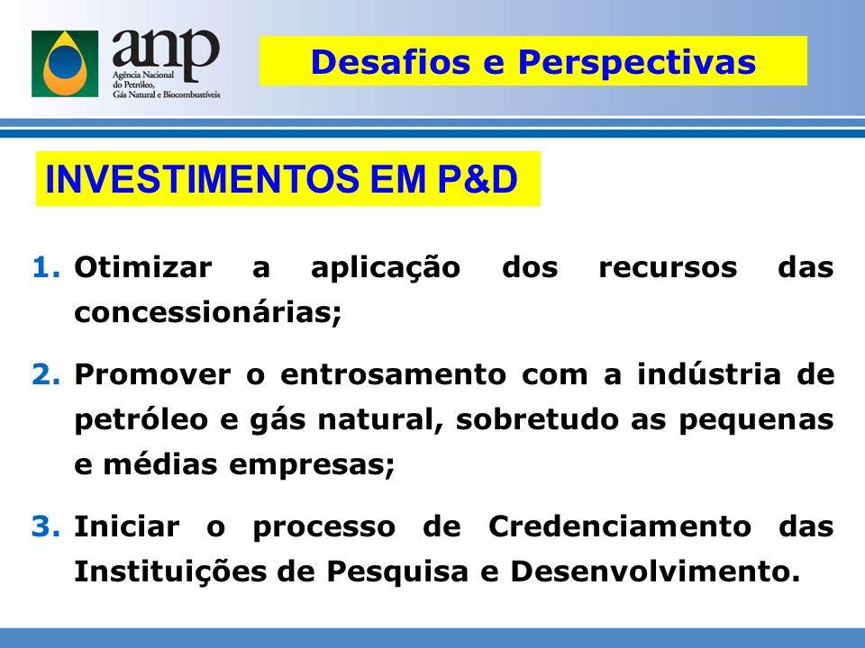 INVESTIMENTOS EM P&D 1.Otimizar a aplicação dos recursos das concessionárias; 2.Promover o entrosamento com a indústria de petróleo e gás natural, sob