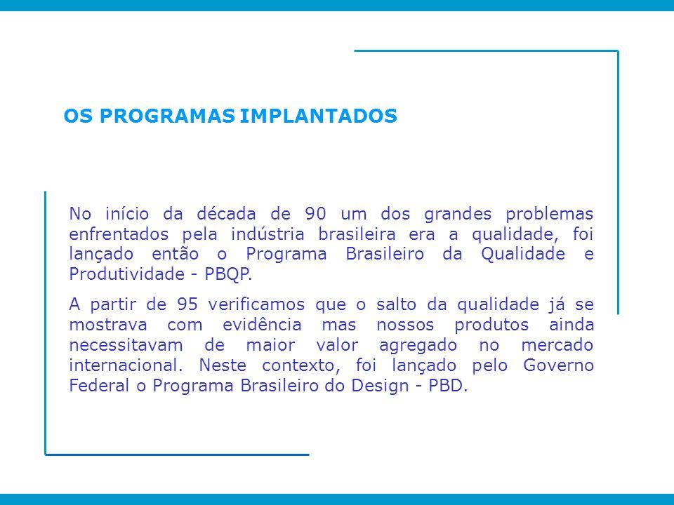 OS PROGRAMAS IMPLANTADOS No início da década de 90 um dos grandes problemas enfrentados pela indústria brasileira era a qualidade, foi lançado então o