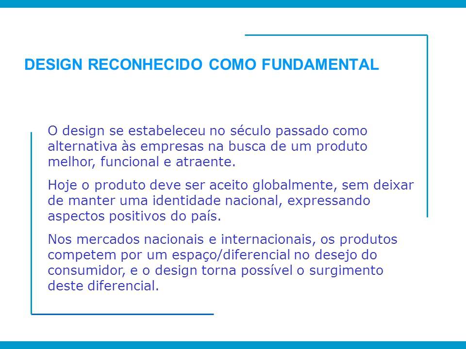 DESIGN RECONHECIDO COMO FUNDAMENTAL O design se estabeleceu no século passado como alternativa às empresas na busca de um produto melhor, funcional e