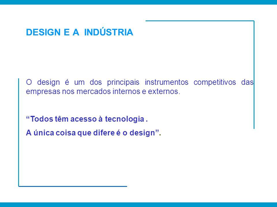 DESIGN E A INDÚSTRIA O design é um dos principais instrumentos competitivos das empresas nos mercados internos e externos. Todos têm acesso à tecnolog