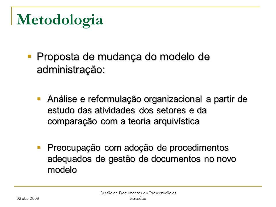 03 abr. 2008 Gestão de Documentos e a Preservação da Memória Metodologia Proposta de mudança do modelo de administração: Proposta de mudança do modelo