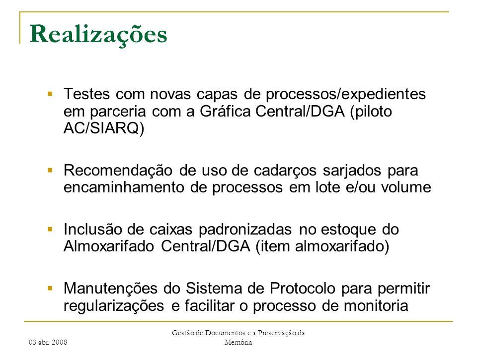 03 abr. 2008 Gestão de Documentos e a Preservação da Memória Realizações Testes com novas capas de processos/expedientes em parceria com a Gráfica Cen