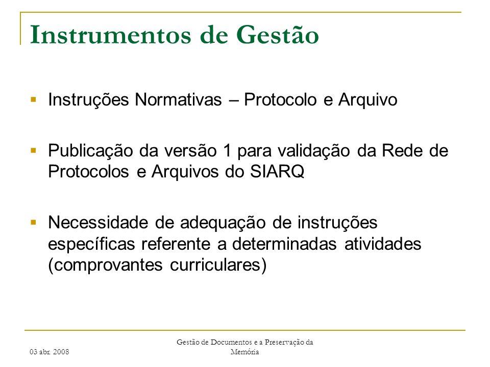 03 abr. 2008 Gestão de Documentos e a Preservação da Memória Instrumentos de Gestão Instruções Normativas – Protocolo e Arquivo Publicação da versão 1