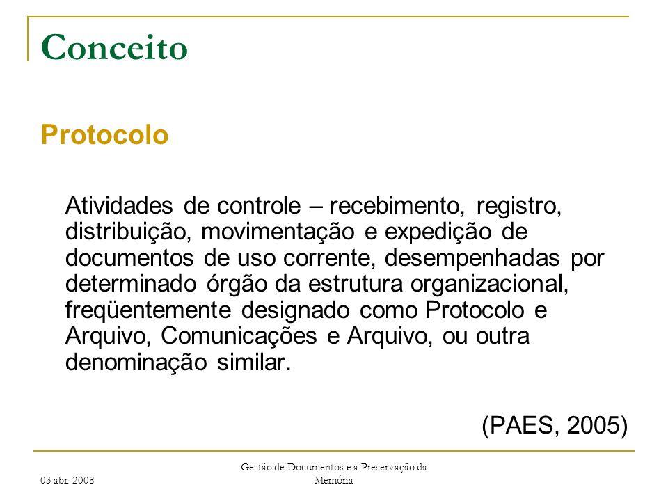 03 abr. 2008 Gestão de Documentos e a Preservação da Memória Conceito Protocolo Atividades de controle – recebimento, registro, distribuição, moviment