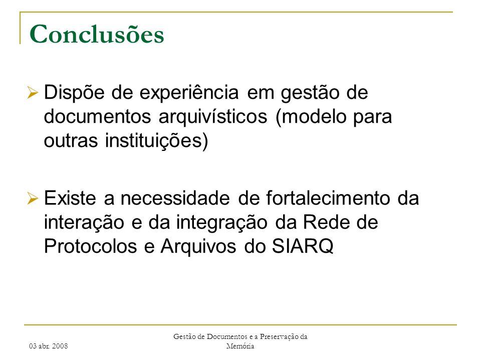 03 abr. 2008 Gestão de Documentos e a Preservação da Memória Conclusões Dispõe de experiência em gestão de documentos arquivísticos (modelo para outra