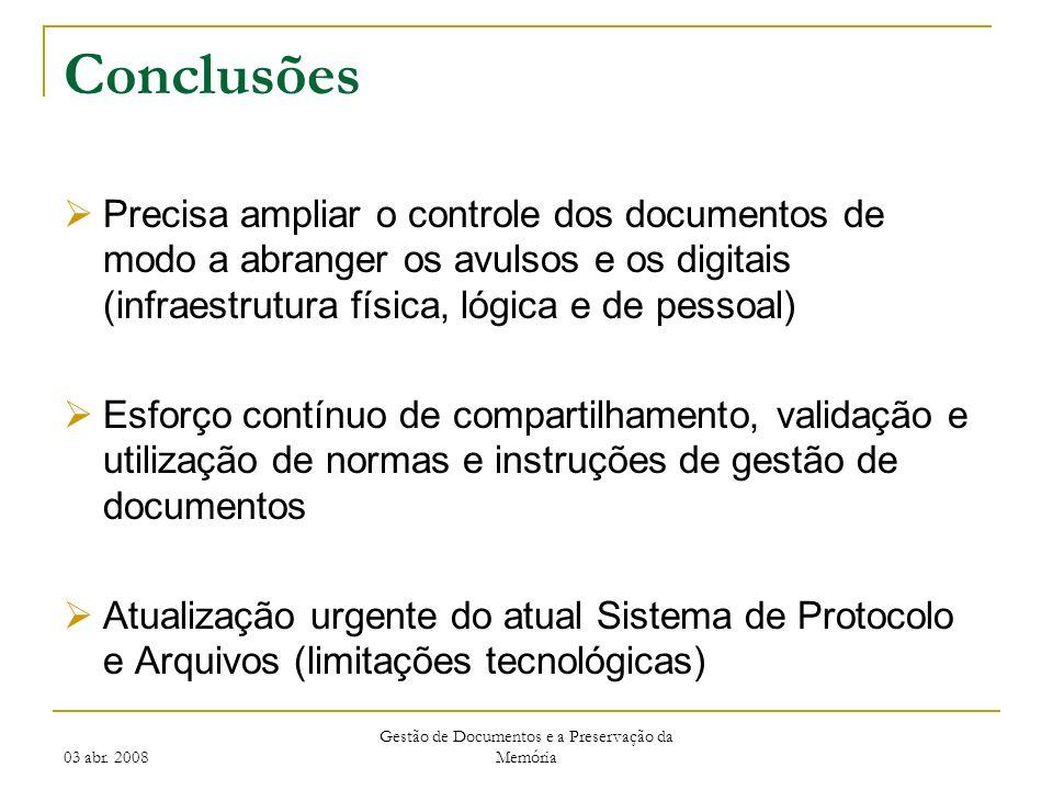 03 abr. 2008 Gestão de Documentos e a Preservação da Memória Conclusões Precisa ampliar o controle dos documentos de modo a abranger os avulsos e os d