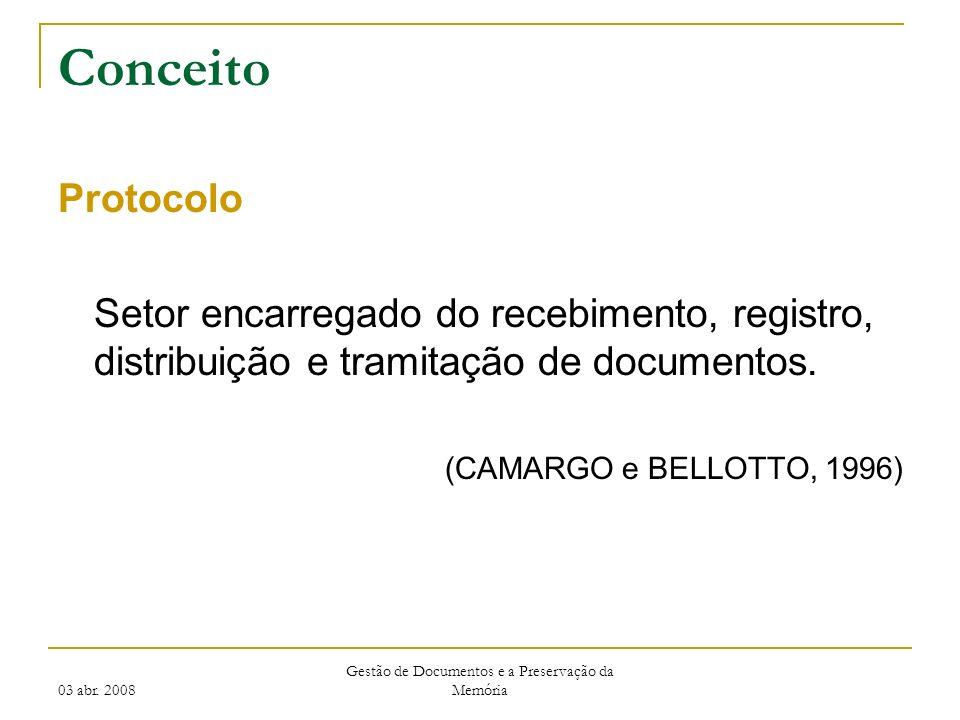 03 abr. 2008 Gestão de Documentos e a Preservação da Memória Conceito Protocolo Setor encarregado do recebimento, registro, distribuição e tramitação