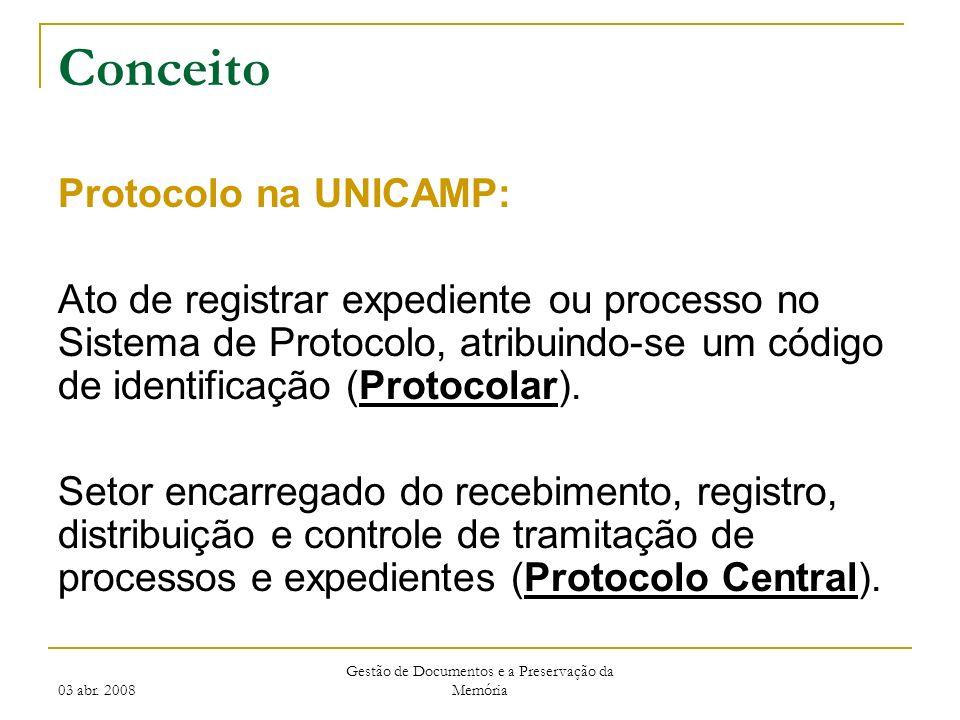 03 abr. 2008 Gestão de Documentos e a Preservação da Memória Conceito Protocolo na UNICAMP: Ato de registrar expediente ou processo no Sistema de Prot
