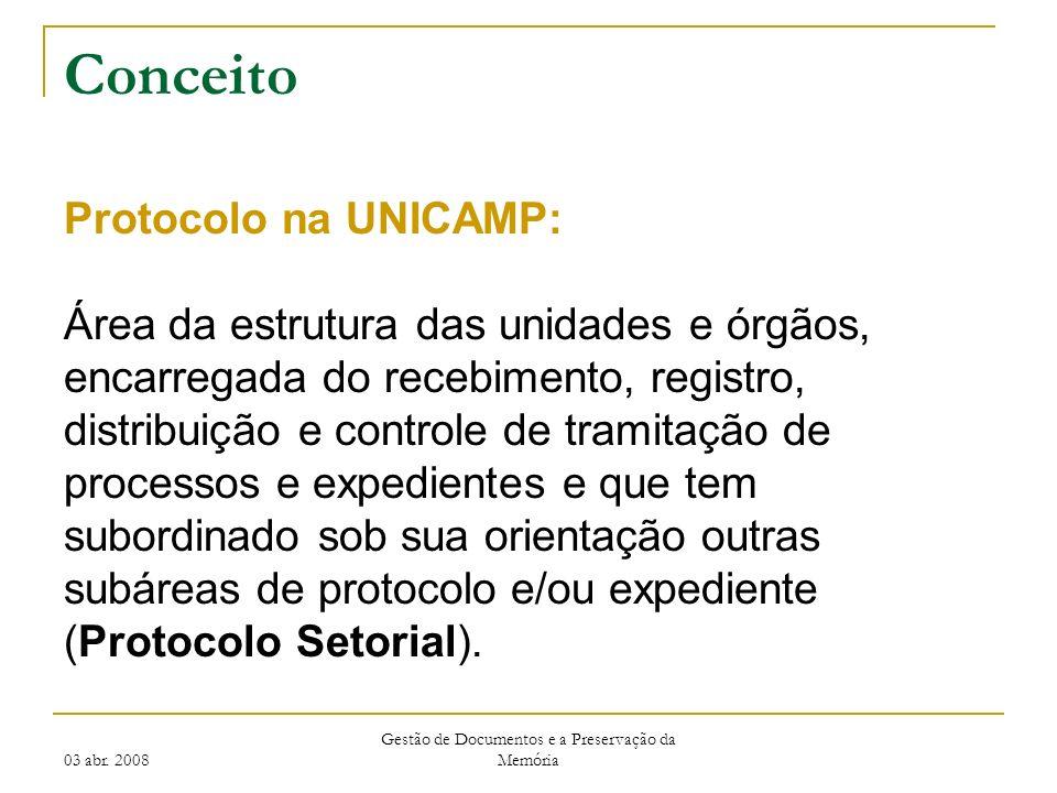 03 abr. 2008 Gestão de Documentos e a Preservação da Memória Conceito Protocolo na UNICAMP: Área da estrutura das unidades e órgãos, encarregada do re