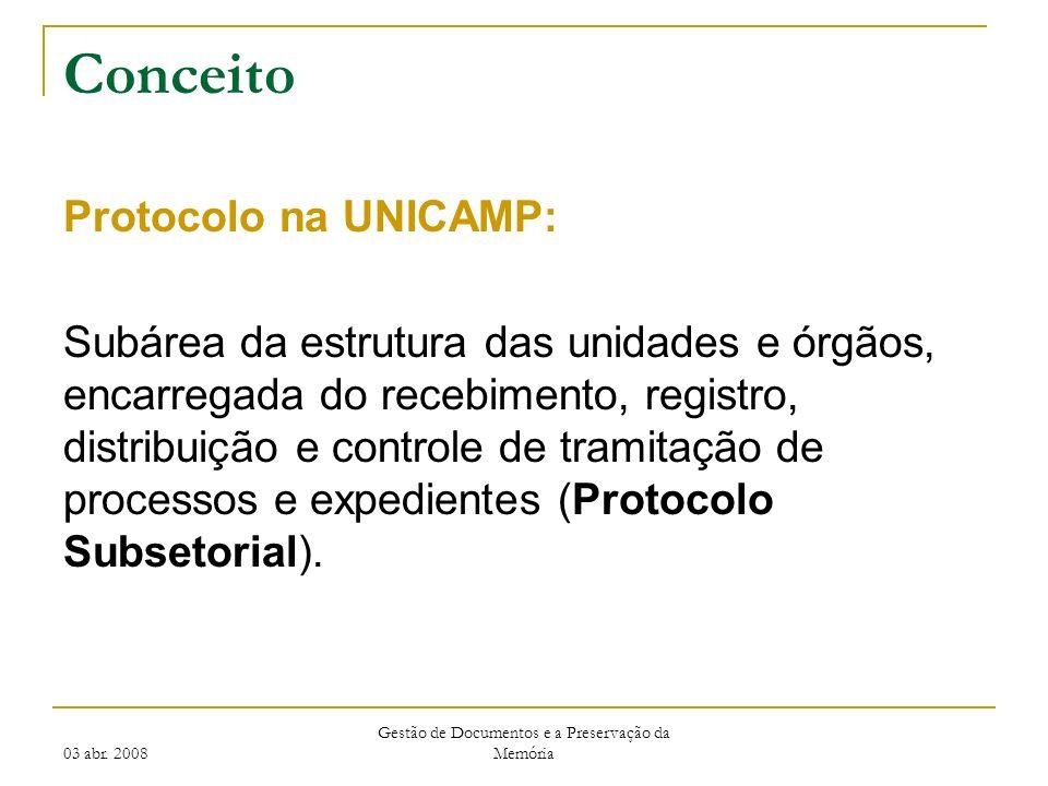 03 abr. 2008 Gestão de Documentos e a Preservação da Memória Conceito Protocolo na UNICAMP: Subárea da estrutura das unidades e órgãos, encarregada do