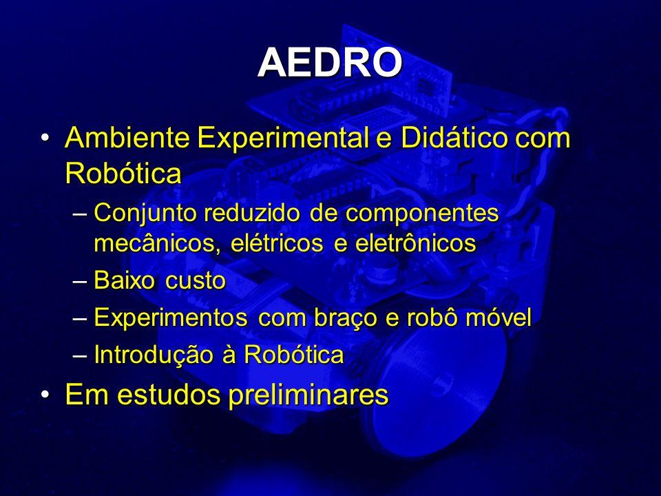 AEDRO Ambiente Experimental e Didático com RobóticaAmbiente Experimental e Didático com Robótica –Conjunto reduzido de componentes mecânicos, elétrico