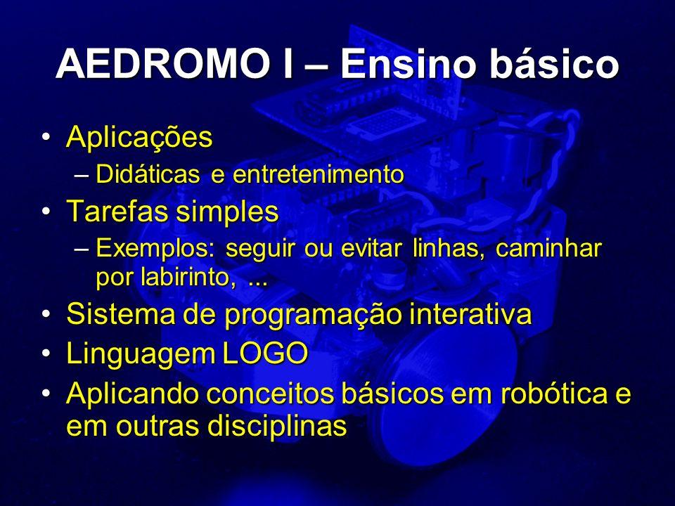 AEDROMO I – Ensino básico AplicaçõesAplicações –Didáticas e entretenimento Tarefas simplesTarefas simples –Exemplos: seguir ou evitar linhas, caminhar por labirinto,...