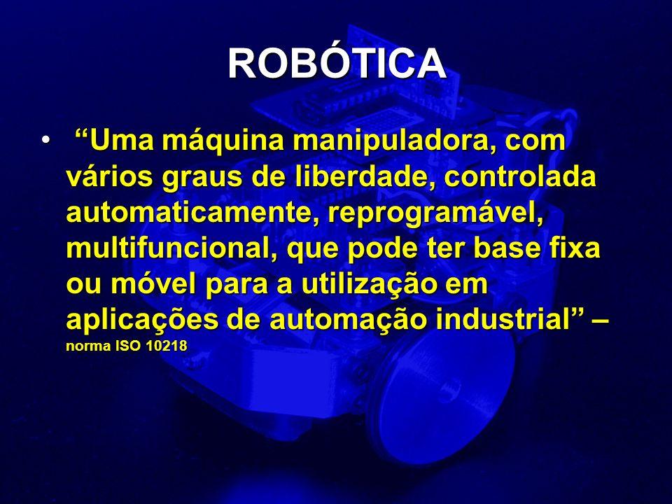 ROBÓTICA Uma máquina manipuladora, com vários graus de liberdade, controlada automaticamente, reprogramável, multifuncional, que pode ter base fixa ou