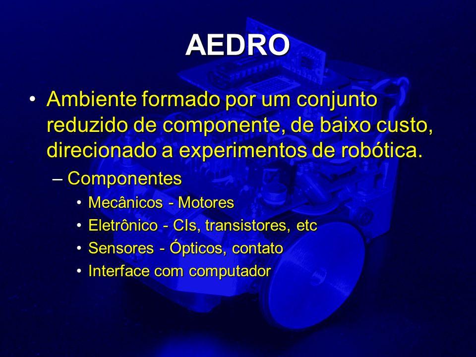 AEDRO Ambiente formado por um conjunto reduzido de componente, de baixo custo, direcionado a experimentos de robótica.Ambiente formado por um conjunto