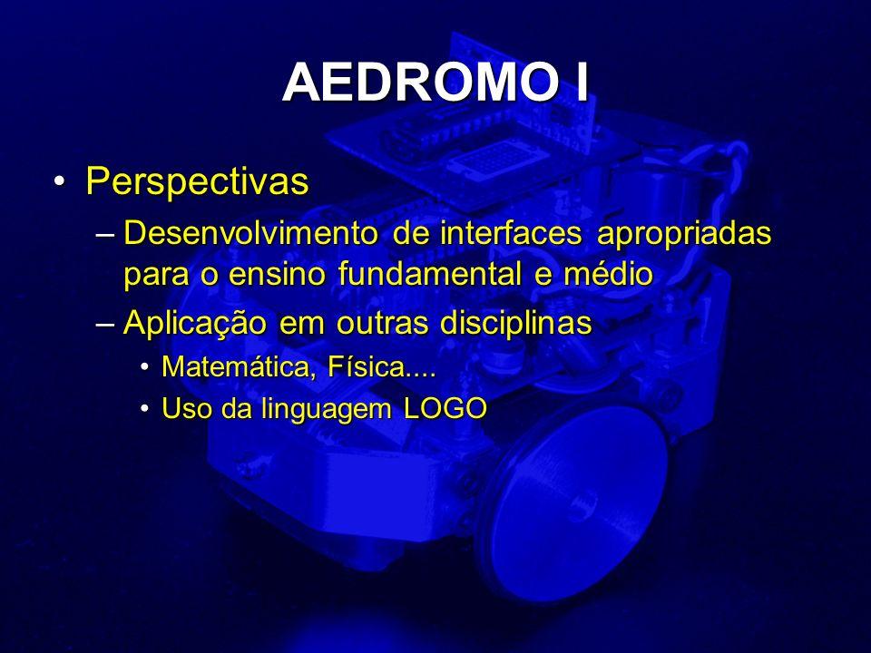 AEDROMO I PerspectivasPerspectivas –Desenvolvimento de interfaces apropriadas para o ensino fundamental e médio –Aplicação em outras disciplinas Matemática, Física....Matemática, Física....