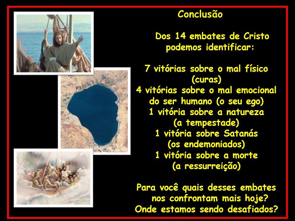 Conclusão Dos 14 embates de Cristo podemos identificar: 7 vitórias sobre o mal físico (curas) 4 vitórias sobre o mal emocional do ser humano (o seu eg