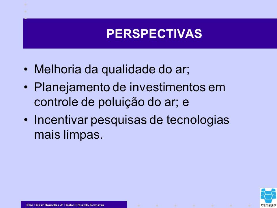 Júlio Cézar Dornellas & Carlos Eduardo Komatsu PERSPECTIVAS Melhoria da qualidade do ar; Planejamento de investimentos em controle de poluição do ar;