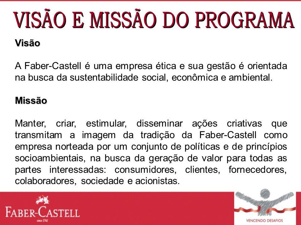Visão A Faber-Castell é uma empresa ética e sua gestão é orientada na busca da sustentabilidade social, econômica e ambiental.Missão Manter, criar, es