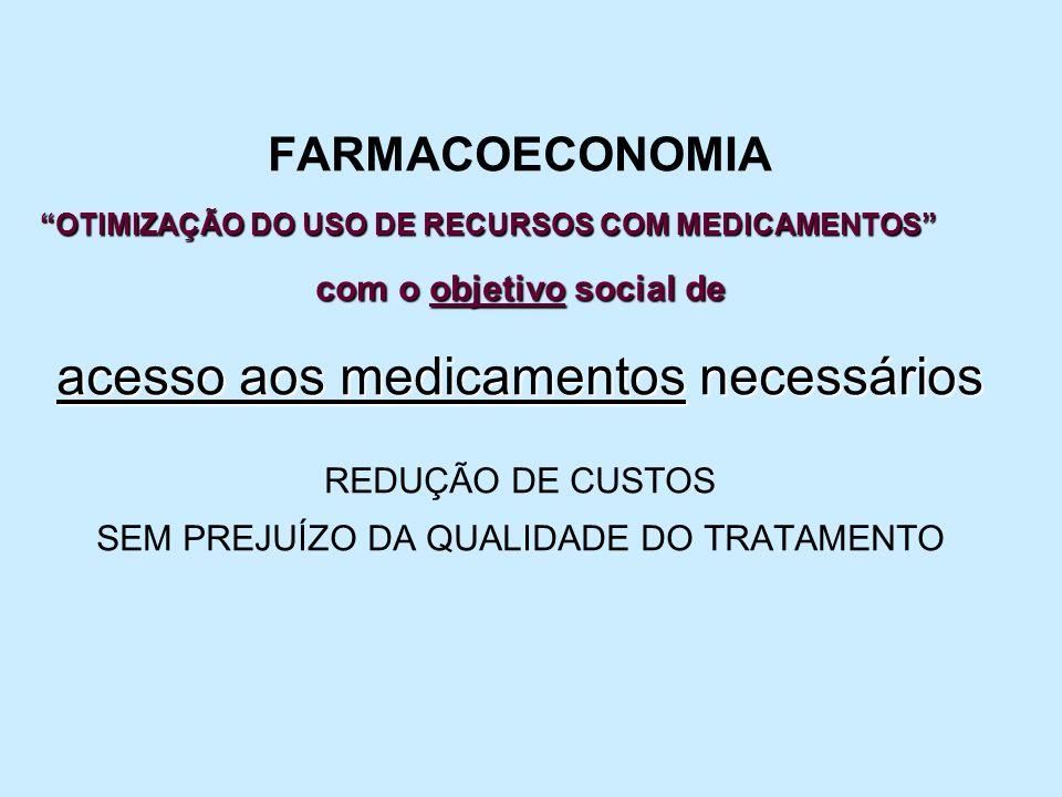 FARMACOECONOMIA OTIMIZAÇÃO DO USO DE RECURSOS COM MEDICAMENTOS com o objetivo social de acesso aos medicamentos necessários REDUÇÃO DE CUSTOS SEM PREJ