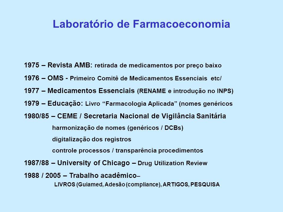 Laboratório de Farmacoeconomia 1975 – Revista AMB: retirada de medicamentos por preço baixo 1976 – OMS - Primeiro Comitê de Medicamentos Essenciais et