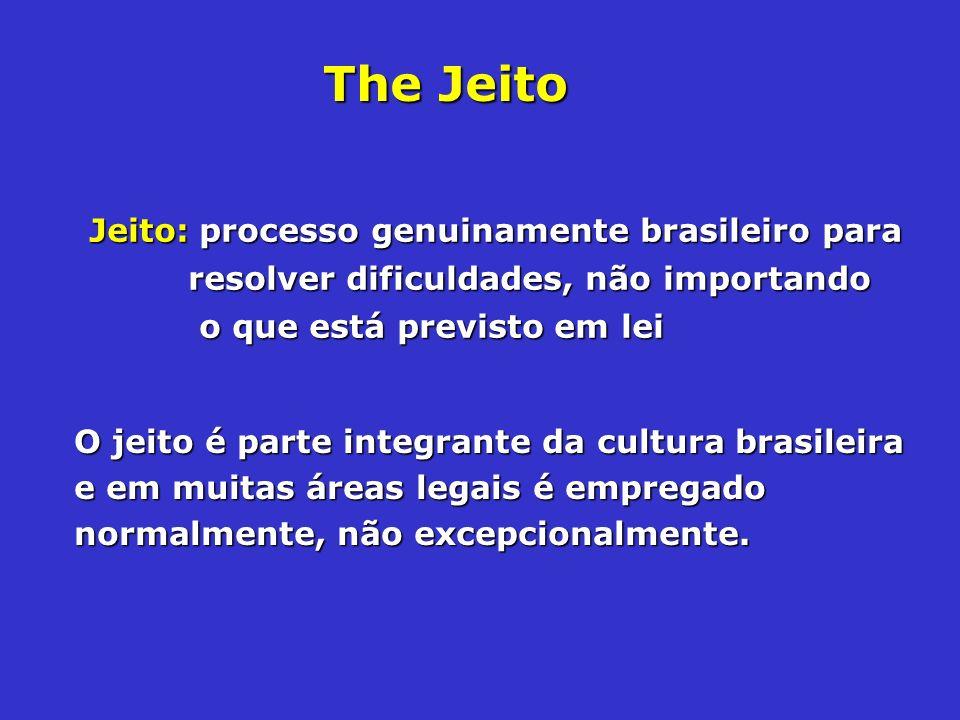 Jeito: processo genuinamente brasileiro para resolver dificuldades, não importando o que está previsto em lei O jeito é parte integrante da cultura br