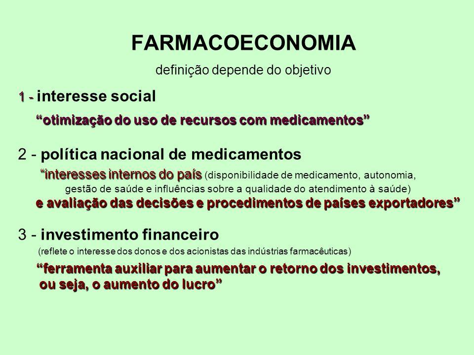 FARMACOECONOMIA definição depende do objetivo 1 - otimização do uso de recursos com medicamentos 1 - interesse social otimização do uso de recursos co