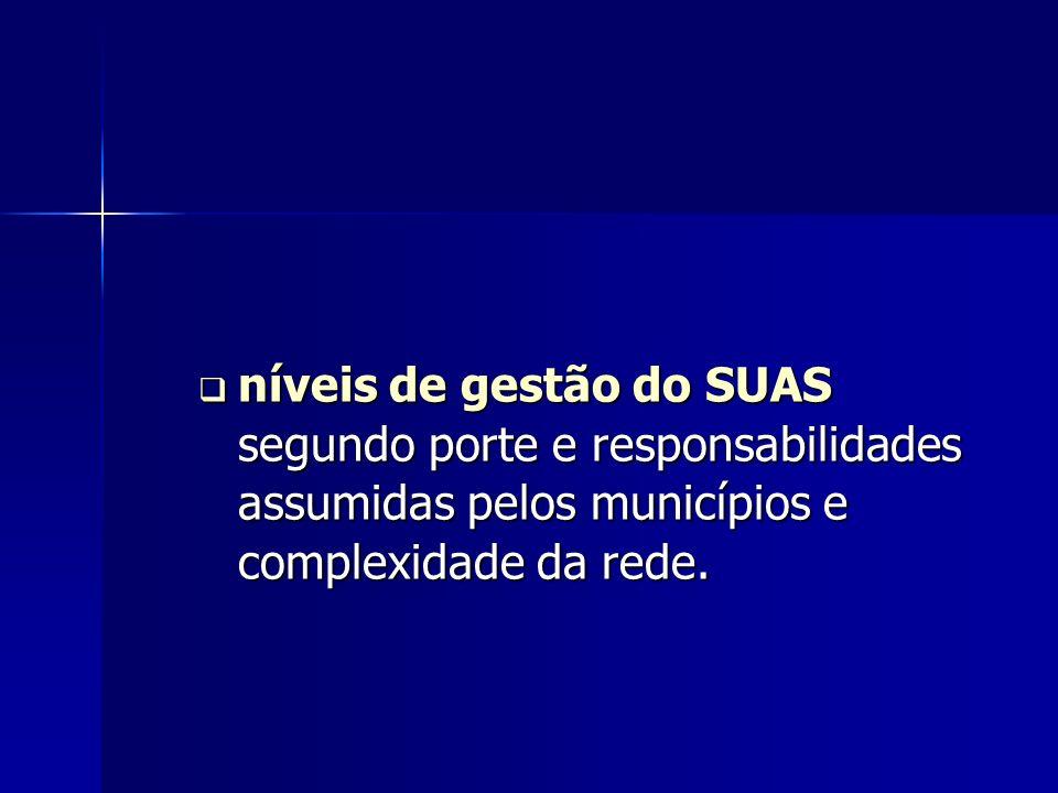 níveis de gestão do SUAS segundo porte e responsabilidades assumidas pelos municípios e complexidade da rede. níveis de gestão do SUAS segundo porte e