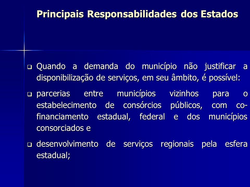 Principais Responsabilidades dos Estados Quando a demanda do município não justificar a disponibilização de serviços, em seu âmbito, é possível: Quand