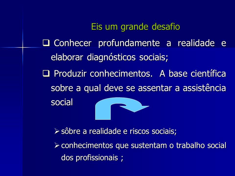 Eis um grande desafio Eis um grande desafio Conhecer profundamente a realidade e elaborar diagnósticos sociais; Conhecer profundamente a realidade e e