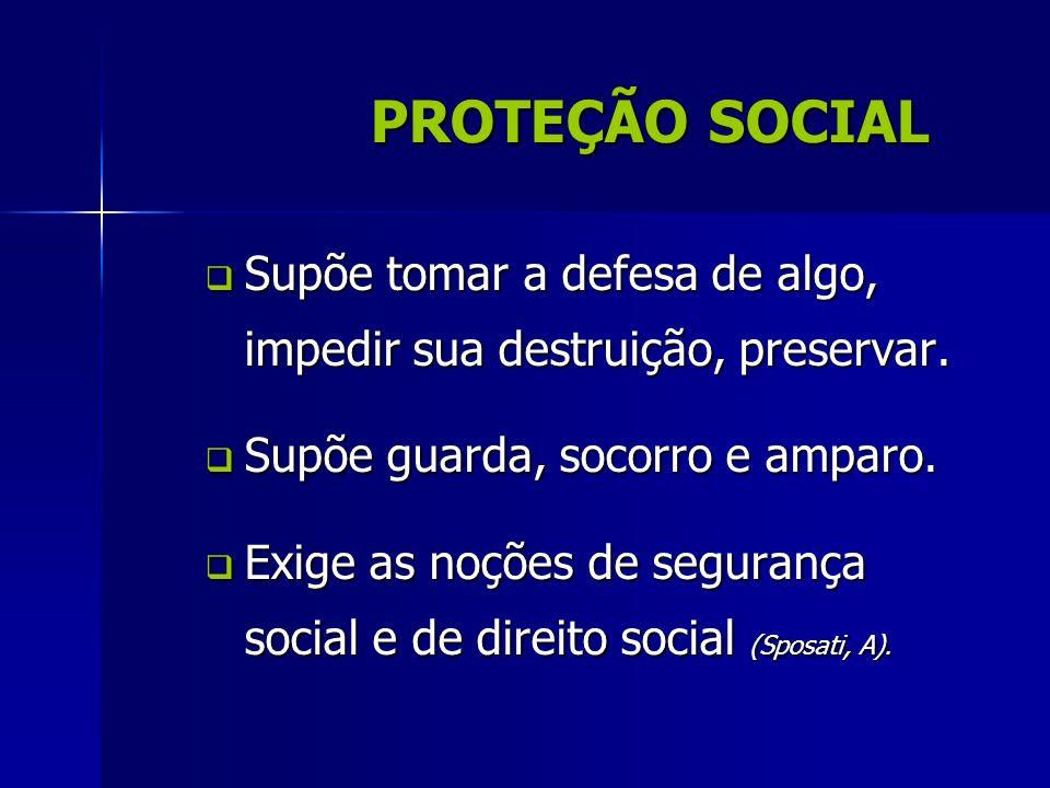 PROTEÇÃO SOCIAL Supõe tomar a defesa de algo, impedir sua destruição, preservar. Supõe tomar a defesa de algo, impedir sua destruição, preservar. Supõ