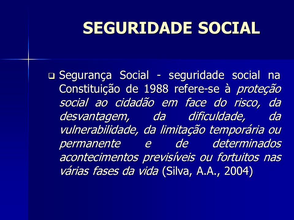 SEGURIDADE SOCIAL Segurança Social - seguridade social na Constituição de 1988 refere-se à proteção social ao cidadão em face do risco, da desvantagem