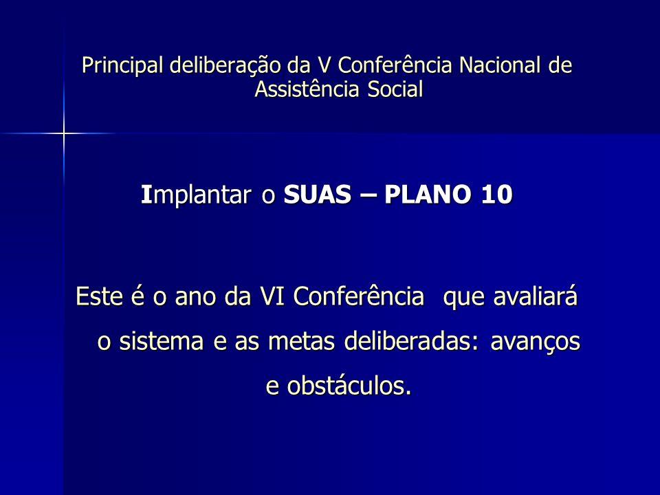 Principal deliberação da V Conferência Nacional de Assistência Social Implantar o SUAS – PLANO 10 Este é o ano da VI Conferência que avaliará o sistem