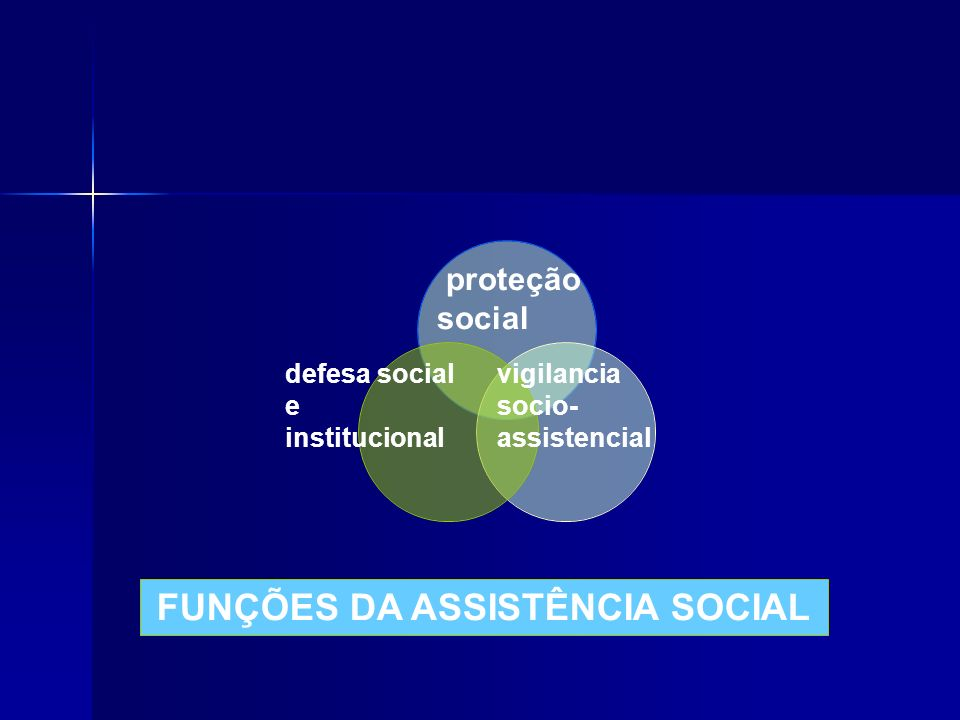 proteção social defesa social e institucional vigilancia socio- assistencial FUNÇÕES DA ASSISTÊNCIA SOCIAL
