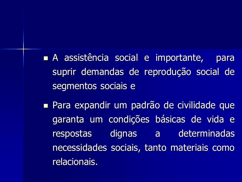A assistência social e importante, para suprir demandas de reprodução social de segmentos sociais e A assistência social e importante, para suprir dem
