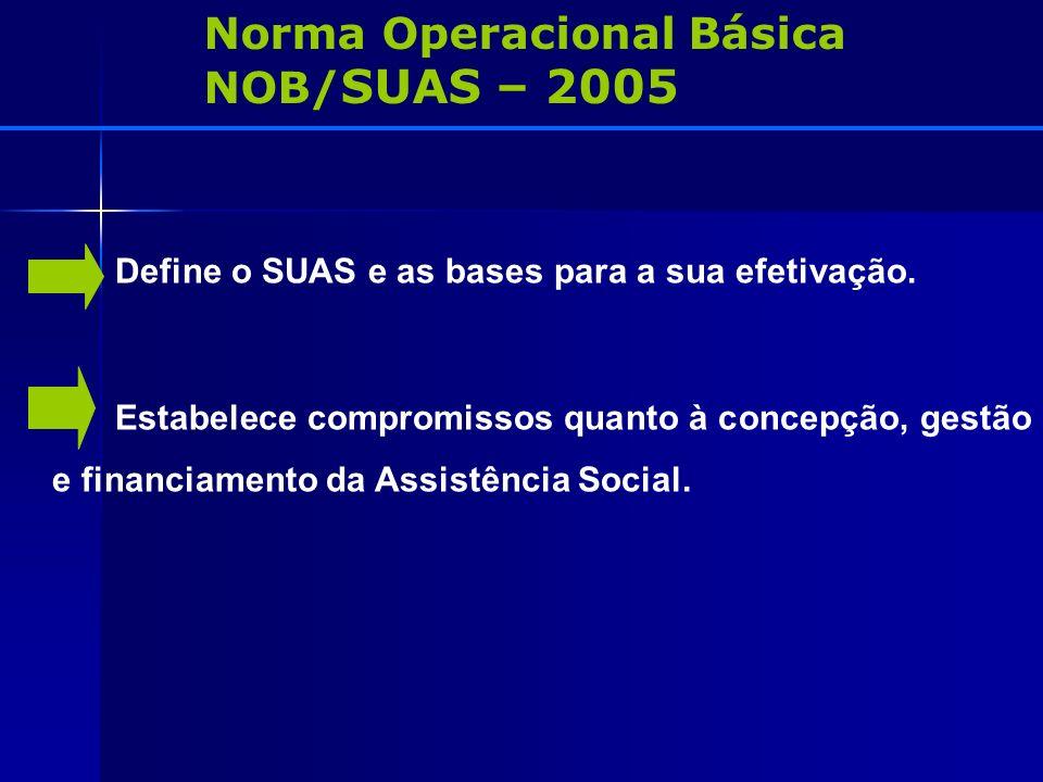 Norma Operacional Básica NOB/ SUAS – 2005 Define o SUAS e as bases para a sua efetivação. Estabelece compromissos quanto à concepção, gestão e financi