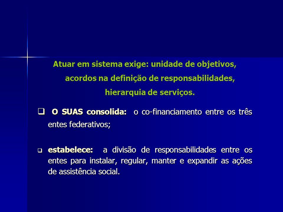 Atuar em sistema exige: unidade de objetivos, acordos na definição de responsabilidades, hierarquia de serviços. O SUAS consolida: o co-financiamento