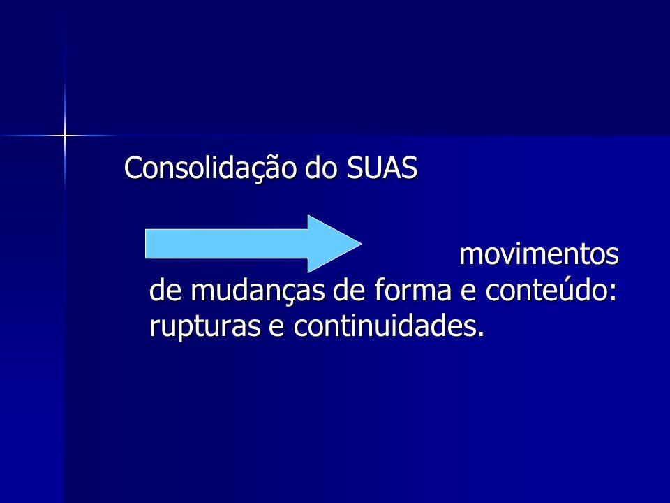 Consolidação do SUAS movimentos de mudanças de forma e conteúdo: rupturas e continuidades.