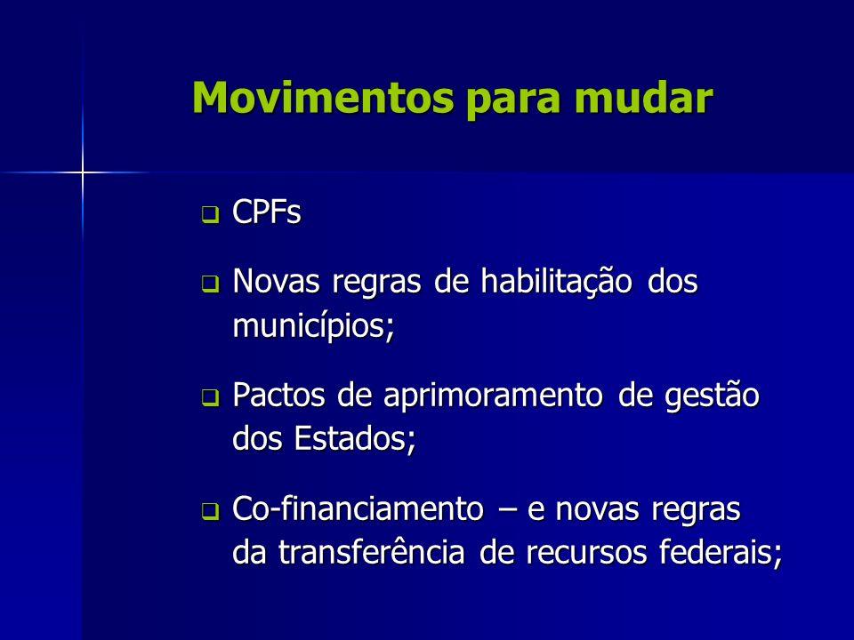 Movimentos para mudar CPFs CPFs Novas regras de habilitação dos municípios; Novas regras de habilitação dos municípios; Pactos de aprimoramento de ges