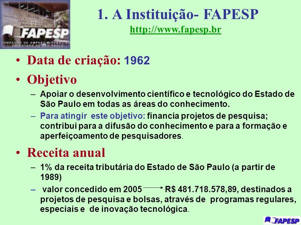 1. A Instituição- FAPESP http://www.fapesp.br Data de criação: 1962 Objetivo –Apoiar o desenvolvimento científico e tecnológico do Estado de São Paulo