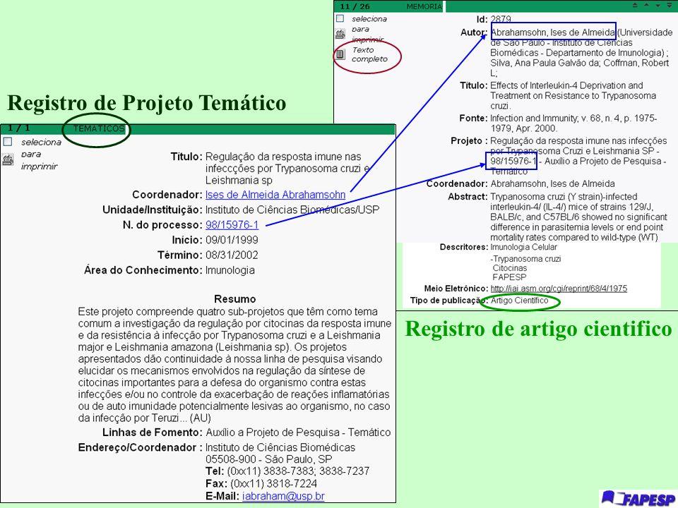 Registro de Projeto Temático Registro de artigo cientifico