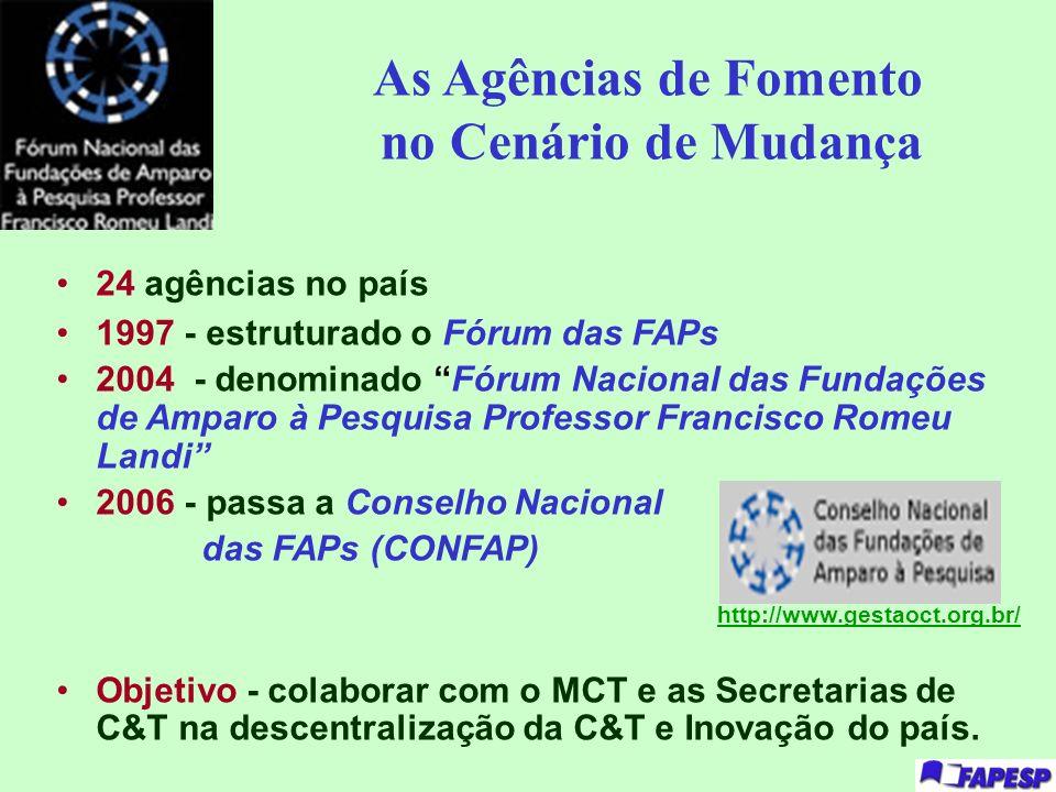 As Agências de Fomento no Cenário de Mudança 24 agências no país 1997 - estruturado o Fórum das FAPs 2004 - denominado Fórum Nacional das Fundações de