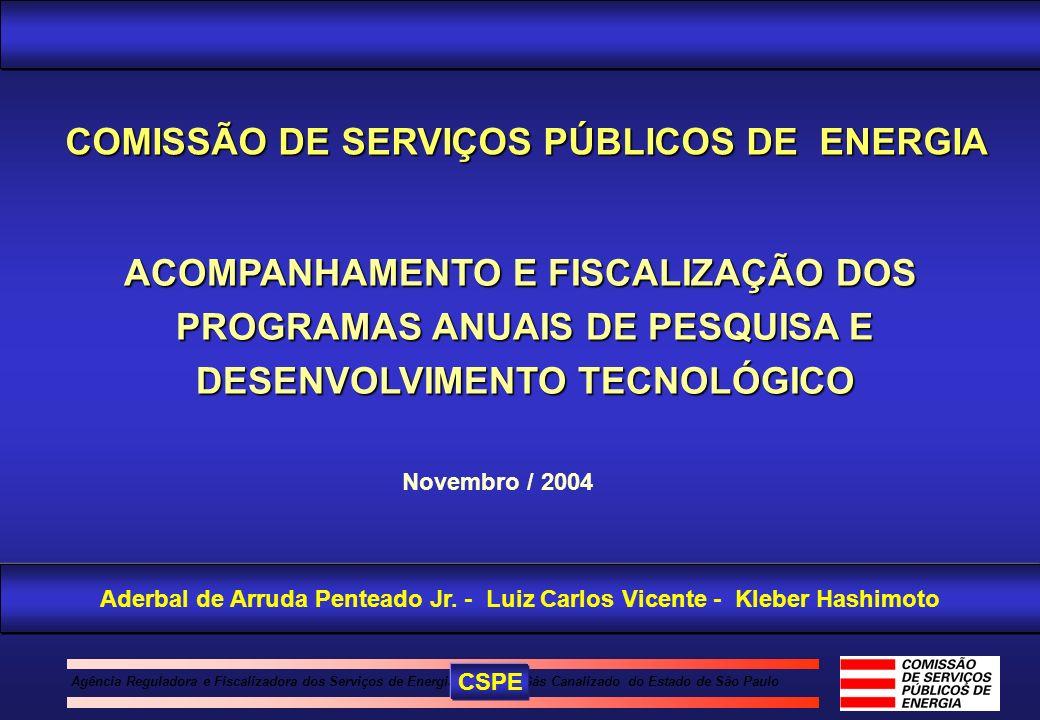 Agência Reguladora e Fiscalizadora dos Serviços de Energia Elétrica e Gás Canalizado do Estado de São Paulo ACOMPANHAMENTO E FISCALIZAÇÃO DOS PROGRAMA
