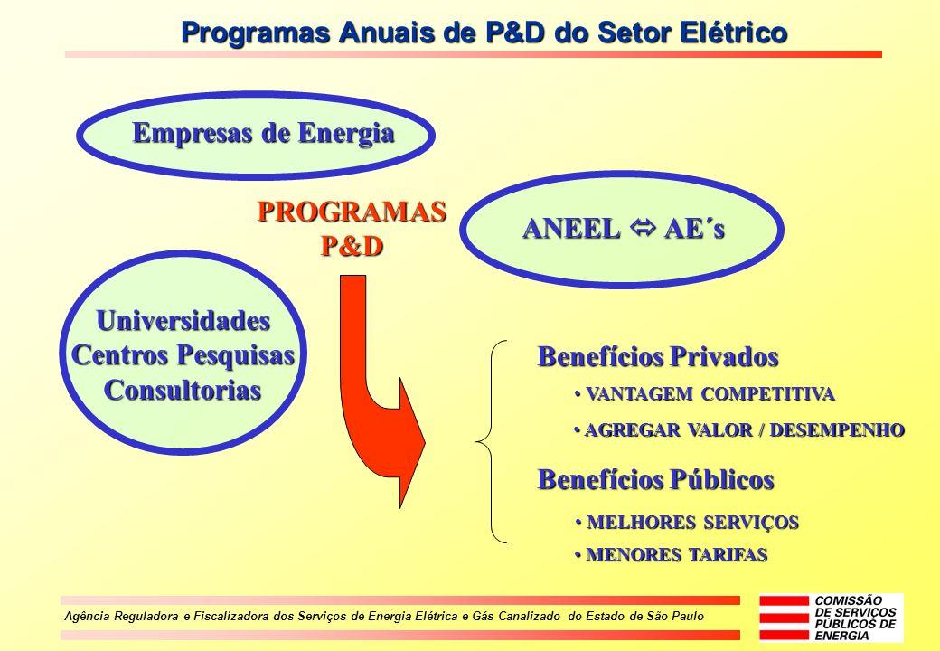 Agência Reguladora e Fiscalizadora dos Serviços de Energia Elétrica e Gás Canalizado do Estado de São Paulo Programas Anuais de P&D do Setor Elétrico